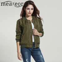 Meaneor Women Casual Stand Collar Solid Zip Up Slim Short Bomber Jacket Coat With Pockets 2018