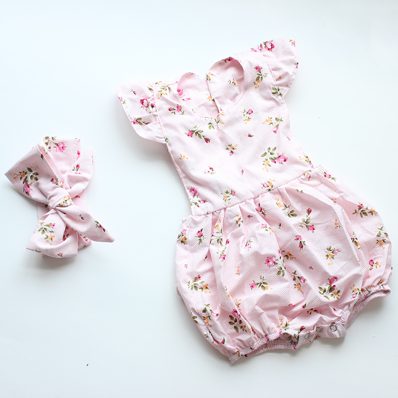 38765e85f45 New stocks baby girl cotton floral vintage romper clothes ruffle bottom  diaper cover style jumpsuit headband-in Rompers from Mother   Kids on  Aliexpress.com ...