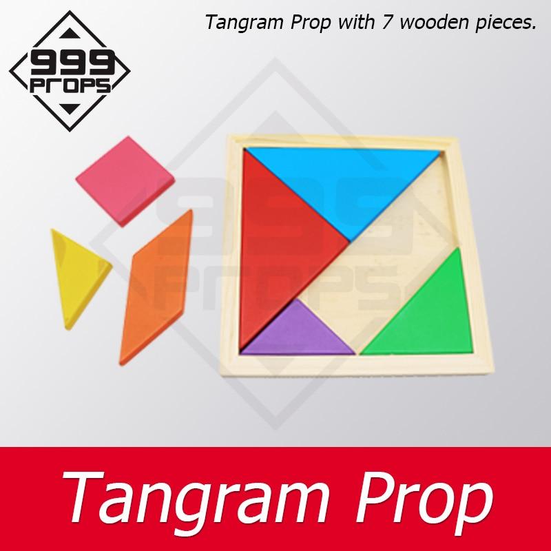 999 accessoires Tangram Prop vraie vie salle escape recueillir toutes les pièces colorées dans la boîte en bois pour débloquer les accessoires de jeu de chambre