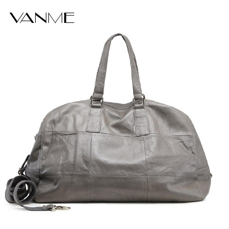 Genuine Leather Women Travel Bag Big Size Casual Handbag Real Cowhide Lady Shoulder Duffel Bag Diamond Messenger Crossbody Bag
