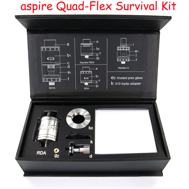 Authentic Aspire Quad-Flex Kit de Sobrevivência com Quad-Flex RDTA/RDA/RDA squonker/Nautilus X tanque tanque AA 4-em-1 aspire Quad-Flex