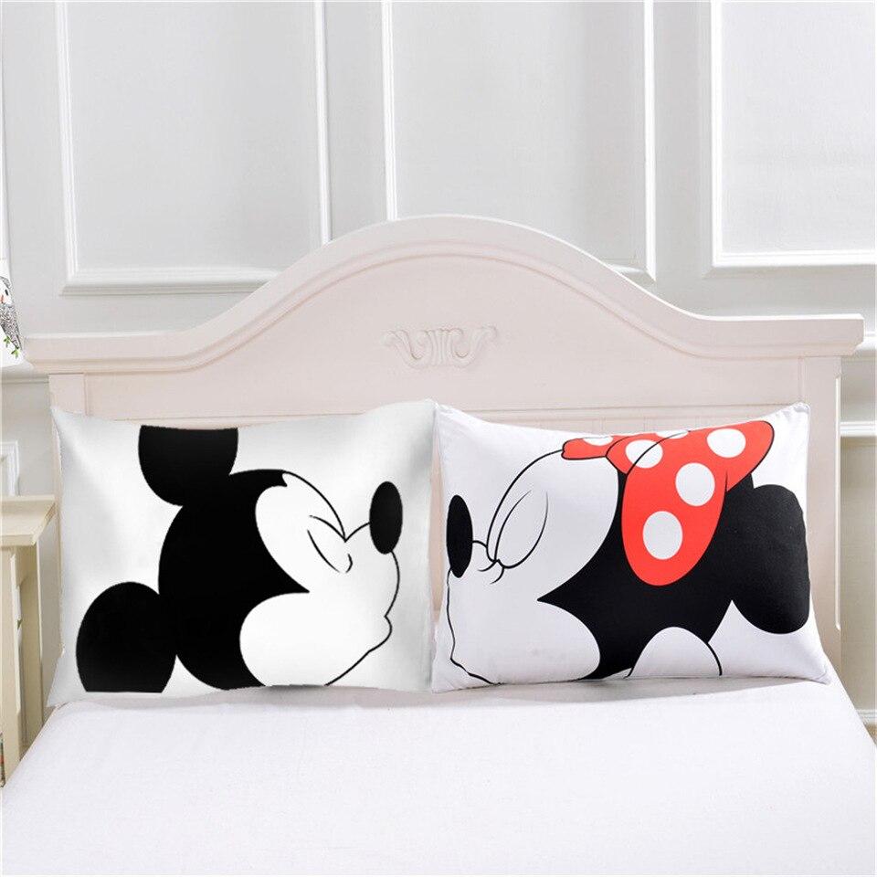 Carino Mickey Mouse Cassa del Cuscino Coppia Bianca Amanti Regalo Cuscino Gettare Federe Casa Beddroom Doppia Coppia Cuscini Biancheria Da Letto Set Capa