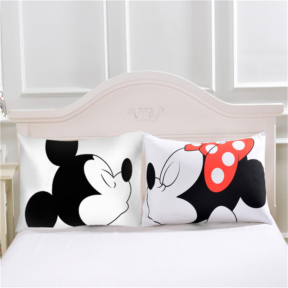Cute Mickey Mouse <font><b>Pillow</b></font> <font><b>Case</b></font> White Couple Lovers Gift <font><b>Pillow</b></font> Throw Pillowcases Home Beddroom Two Pair <font><b>Pillows</b></font> Bedding Set Capa image