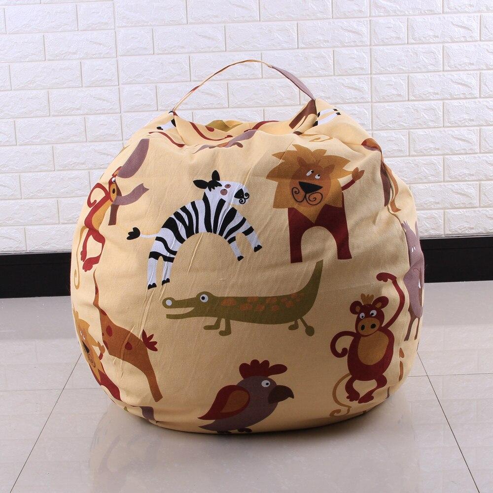 Kids Stuffed Animal Plush Toy Storage Bean Bag Soft Pouch Stripe Fabric Chair #30 4