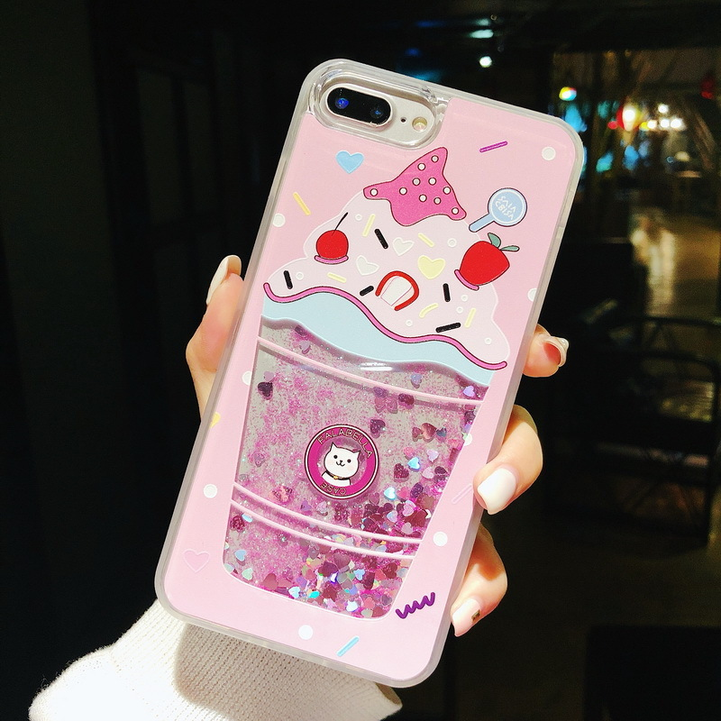 Creative quicksand phone case for iPhone X XS XR XS Max 8 7 6 6S PluS ice cream drop protection cover in Fitted Cases from Cellphones Telecommunications