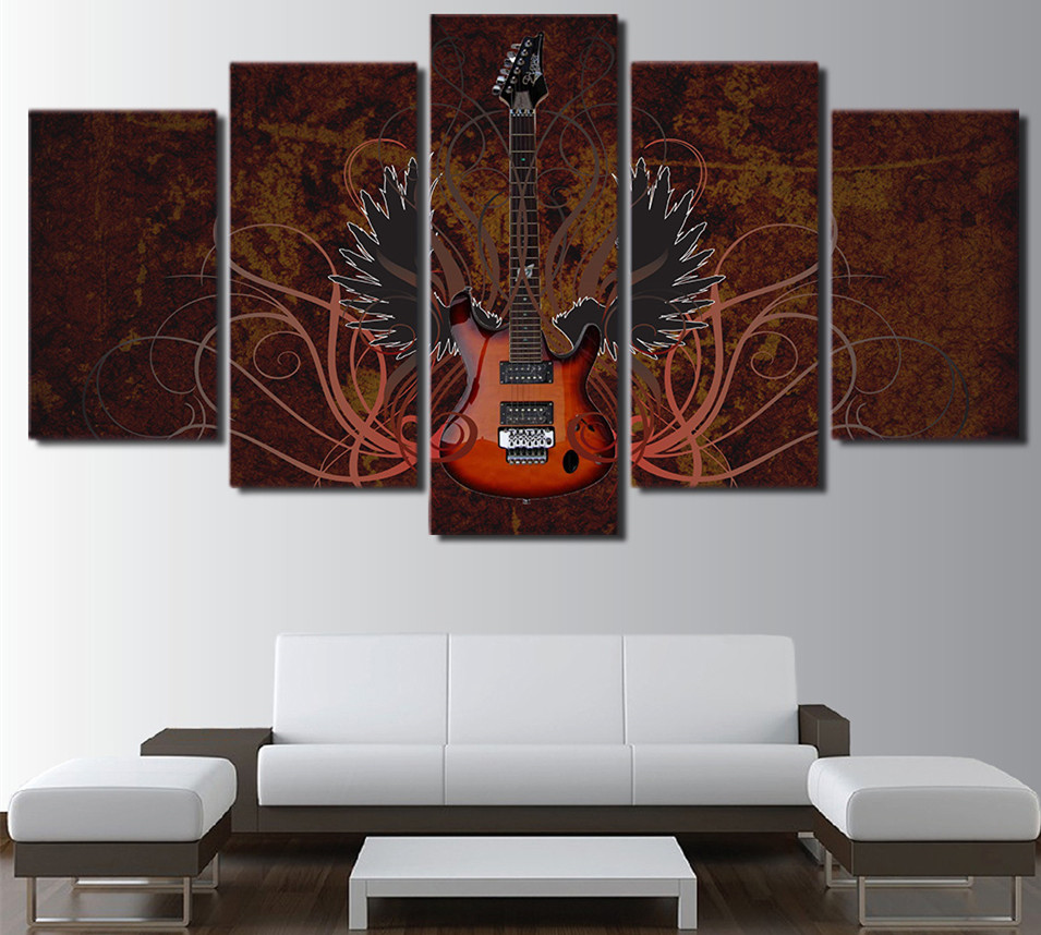5 piece canvas art abstract guitar painting classical music wall 5 piece canvas art abstract guitar painting classical music wall picture s home decor frames black and white picture in painting calligraphy from home jeuxipadfo Gallery