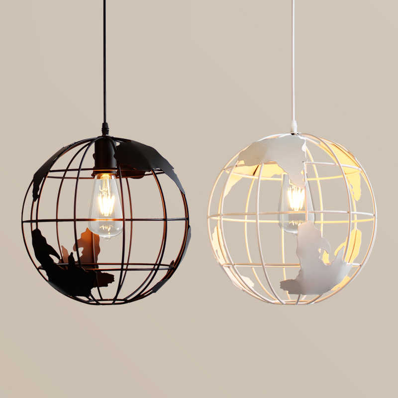 Новый дизайн Globes подвесные лампы металлический Окрашенный черный цвет и белый цвет для комнаты подвесные светильники Античный стиль жизни освещение