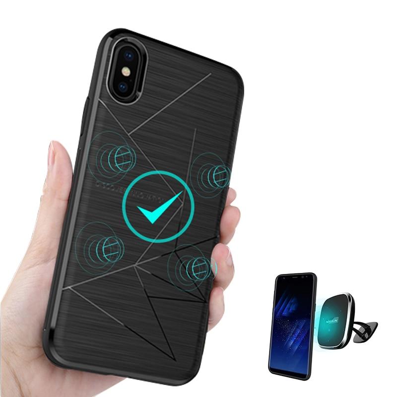 Para o iphone x caso de luxo Nillkin QI Carregamento Sem Fio Receiver Tampa Traseira fit para Suporte Magnético 5.8 polegada para iphone x caso