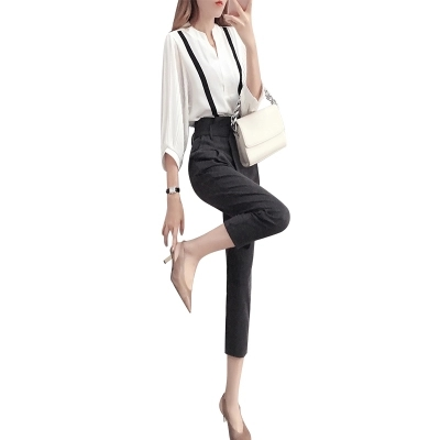 Fashion Suit women spring New high quality Temperament goddess white shirt + nine points pants two-piece Suit women 5