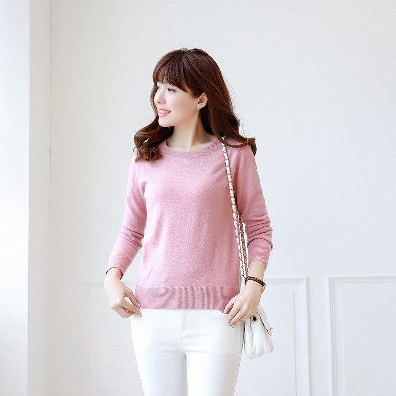 2018 New Colours Women s 100 Cashmere O neck Knitted Pullover Multi Colors Base Pure Sweater