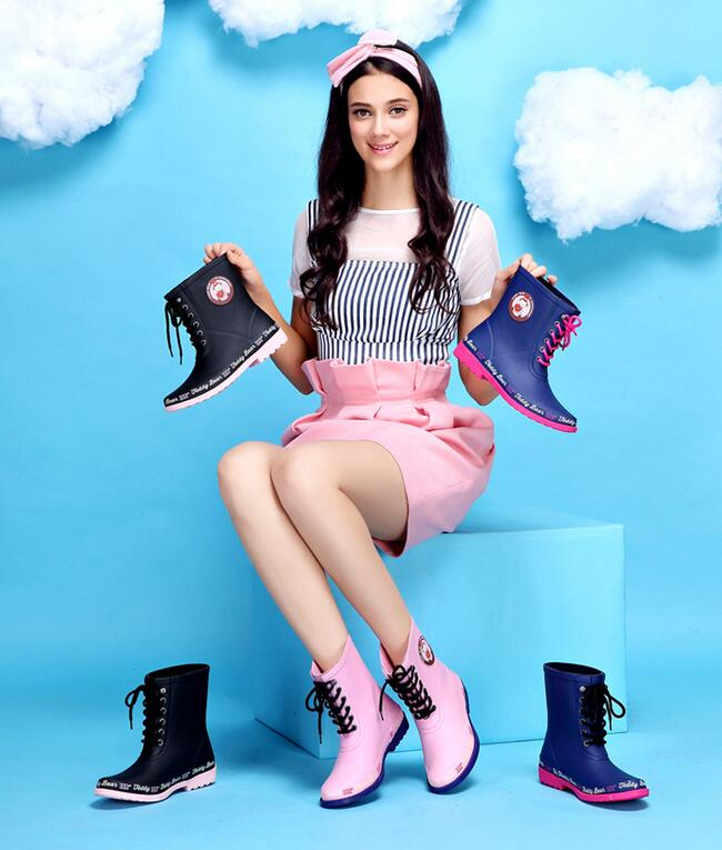 Womens Ankle Boots Rubber Rain Boots Waterproof Wear Antiskid Rainboots Fashion Lace Up Print