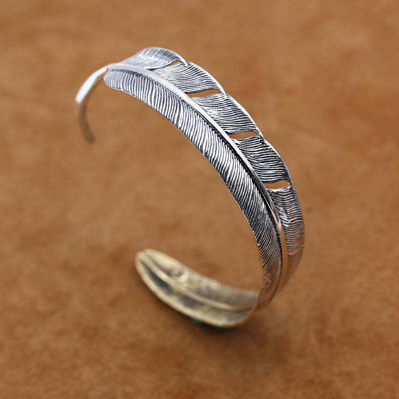 S925 Sterling Silver Jewelry Retro Thai Silver Feather Men And Women Personality Open Ended Japan And South Korea Popular BangleS925 Sterling Silver Jewelry Retro Thai Silver Feather Men And Women Personality Open Ended Japan And South Korea Popular Bangle