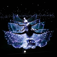 LED luminous wings Ballet Costume Fluorescent butterfly dance Cloak Dance Costume Belly Dance cloak prop Children's wings dress