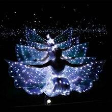 Светодио дный Светящиеся Крылья балетный костюм флуоресцентная бабочка танцевальная накидка танцевальный костюм танец живота плащ реквизит Детские крылья платье