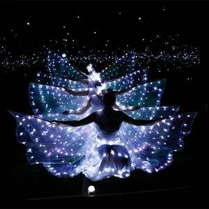 LED luminous wings Ballet Costume Fluorescent butterfly dance Cloak Dance Costume Belly Dance cloak prop Children's wings dress(China)