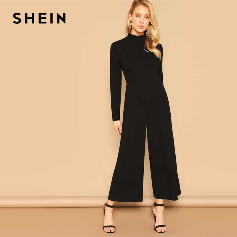 a758b47c00ae SHEIN Solid Black Mock-neck Stand Collar Palazzo Leg Jumpsuit 2019 Spring  Elegant Wide Leg