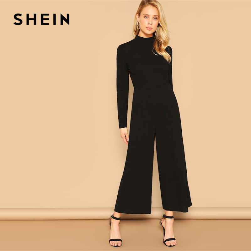 SHEIN Solid Black Mock-neck Stand Collar Palazzo Leg Jumpsuit 2019 Spring Elegant Wide Leg Mid Waist Jumpsuit For Women