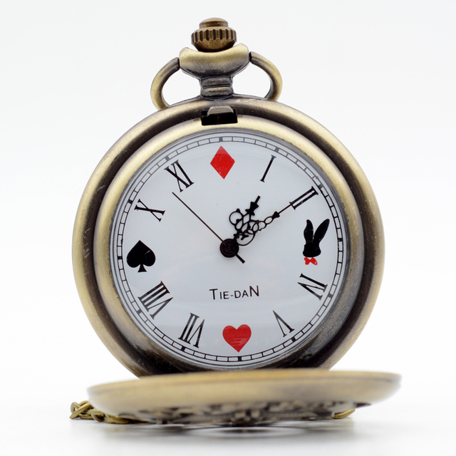 Retro Alice in Wonderland Roman Numerals and Poker Rabbit Dial ESWN Quartz Pocke