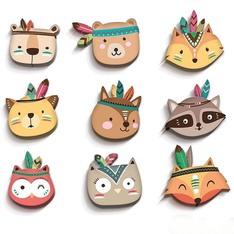 Nordic Style Children Room Wall Sticker DIY Party Decor Tribal Indian Cartoon Fox Cat Wall Decorative Kids Baby Room Decoration