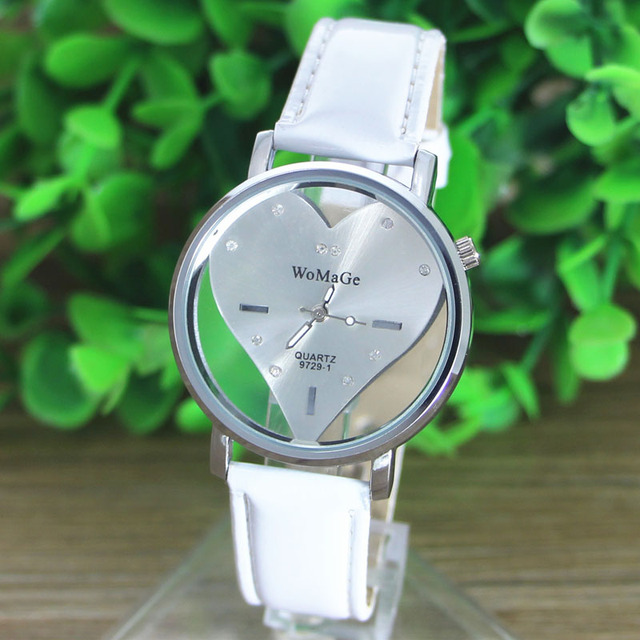 2016 New models Simple fashion women watch famous brands PU Leather Transparent Dial Hollow Heart Analog Quartz lady Wrist Watch