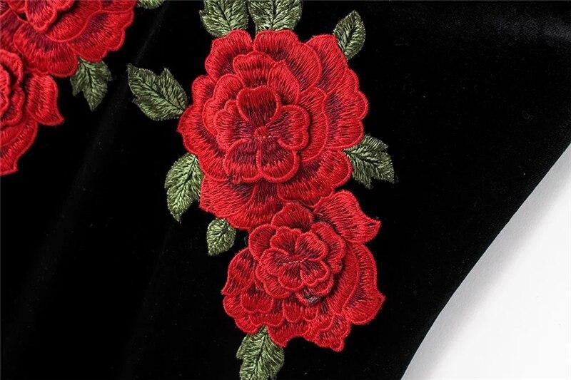 Red Flower Embroidered Black Velvet Shoulder-Straps Bodycon Dress 16