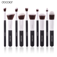 Docolor Hot 10Pcs Pro Makeup Blending Blush Set Cosmetic Make Up Brushes Tool Black Soft Nylon
