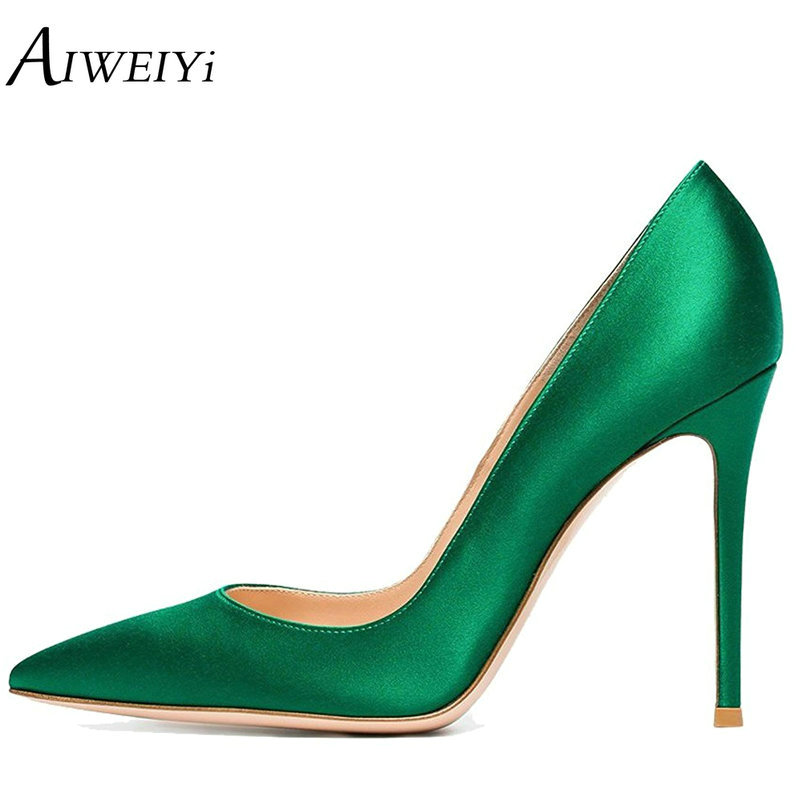 AIWEIYi Spring Autumn Women Pumps Elegant Black Silk Satin Stiletto High Heels Shoes Sexy Thin Heels Pointed Toe Single Shoes aiweiyi women s pumps shoes 100