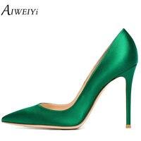 AIWEIYi Spring Autumn Women Pumps Elegant Black Silk Satin Stiletto High Heels Shoes Sexy Thin Heels Pointed Toe Single Shoes