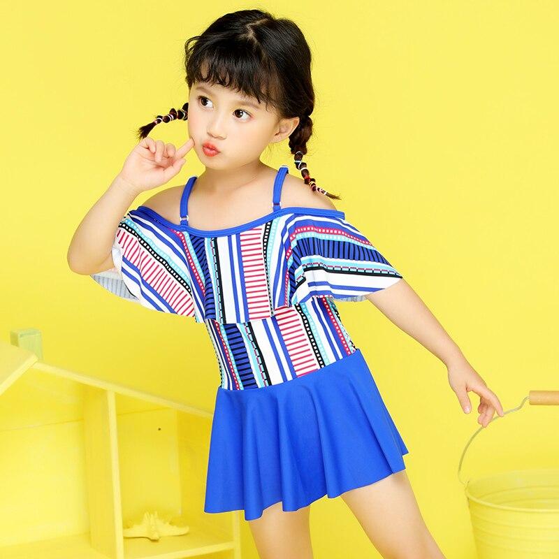 One Piece Children's Swimsuit Girls cute Off Shoulder Swimwear Baby Girl Print Dress Little Girls Swimming Suit Bathing Suit