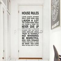 Familia Cotizaciones Grandes Reglas de la Casa Etiqueta de La Pared Removible Del Vinilo Del Arte Pegatinas de Pared para Sala de estar Decoración Del Dormitorio