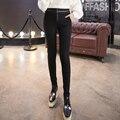 3xl плюс размер брюки женщины весна осень 2017 feminina высокая талия черный кожа молния стрейч леггинсы женщина A1348