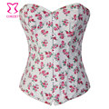 Shapewear rosa Floral imprimir branco Denim / Jeans mulheres Corselet Corset Overbust Gothic Bustier Corpet Corpetto Sexy Korset Lingerie