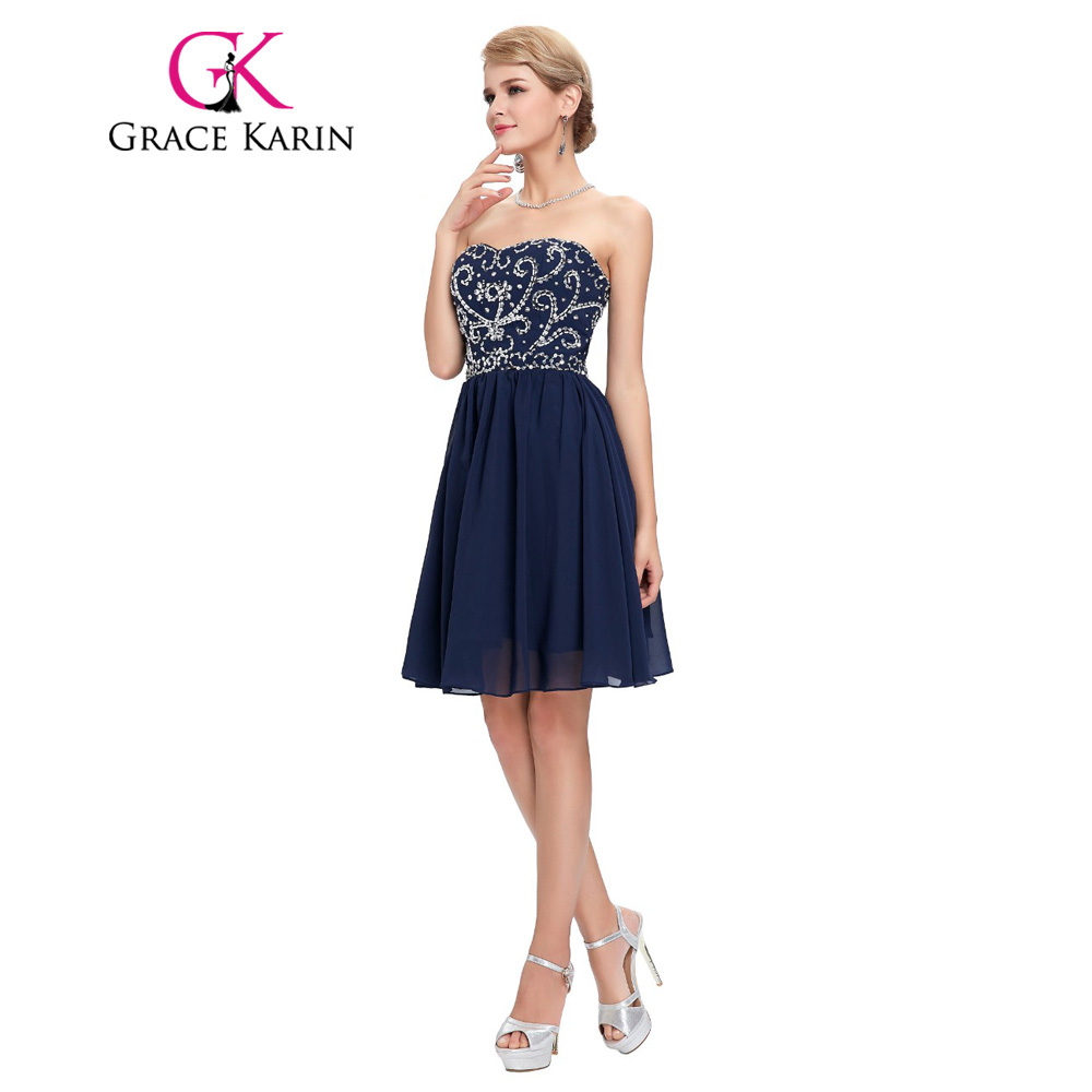 Grace Karin Short Prom Dress Navy Blue Green Black Strapless ...