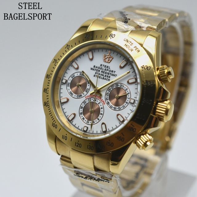 STEELBAGELSPORT High Quality Automatic Mechanical Men Gold Watch Business Full S