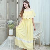 Nightgowns Female Homewear Solid Sleep Dress Gown Nightdress Women 2019 Dresses Lotus leaf collar Sleepwear Ankle length