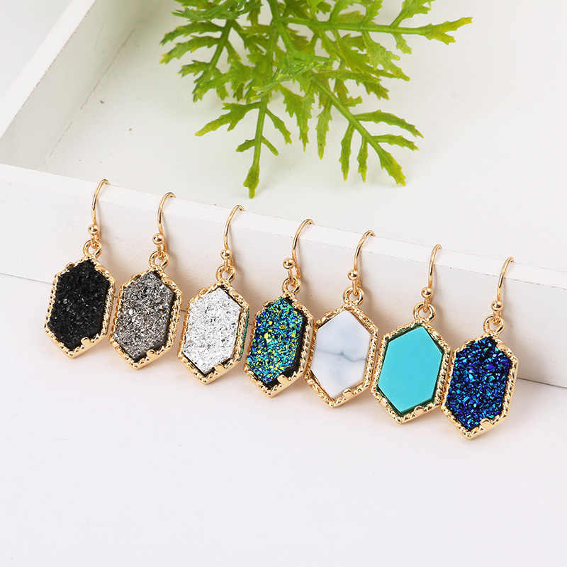 14 Colors Drusy Hexagon Dangle Earrings Imitation Crystal Stone Druzy Earings Gold Silver Plated Brand Jewelry for Women