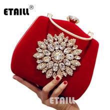 ETAILL сумка для вечернего платья с большим бриллиантом и цветочным узором, бархатные Стразы, клатч для свадьбы, свадебные вечерние сумки с верхней ручкой, маленькая сумка на плечо