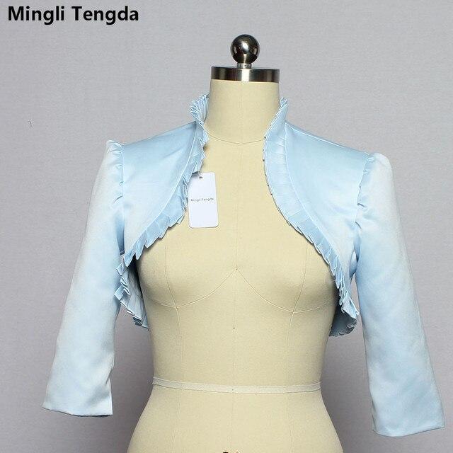 Mingli Tengda Sky Blue Stain Hochzeit Bolero Wraps Braut Jacke Cape 3 4  Ärmeln Wellig 3c93c82d06
