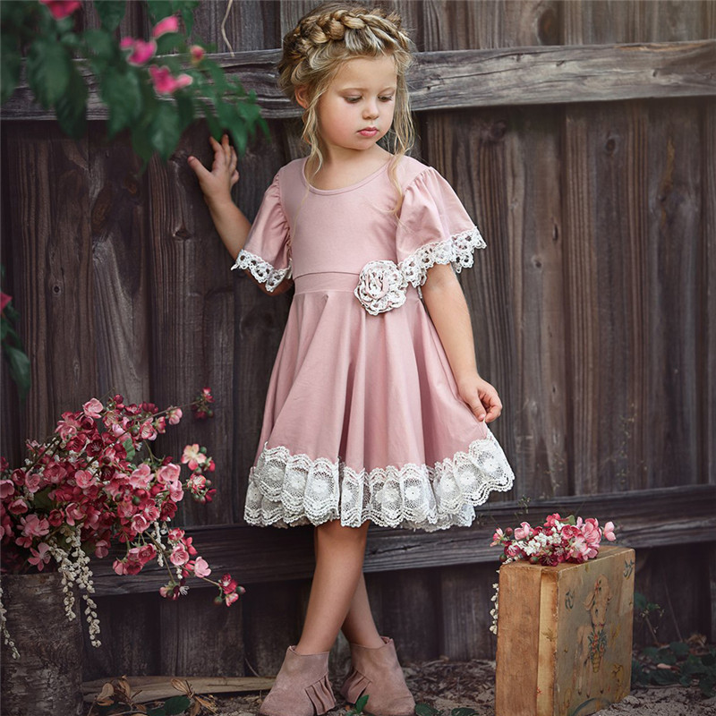 O-Neck Solid Lace Childrens Clothing Dress Flower Girls Dress Princess Summer Kids Dresses For Baby Girls Clothes 1 2 3 4 5 Yrs 2