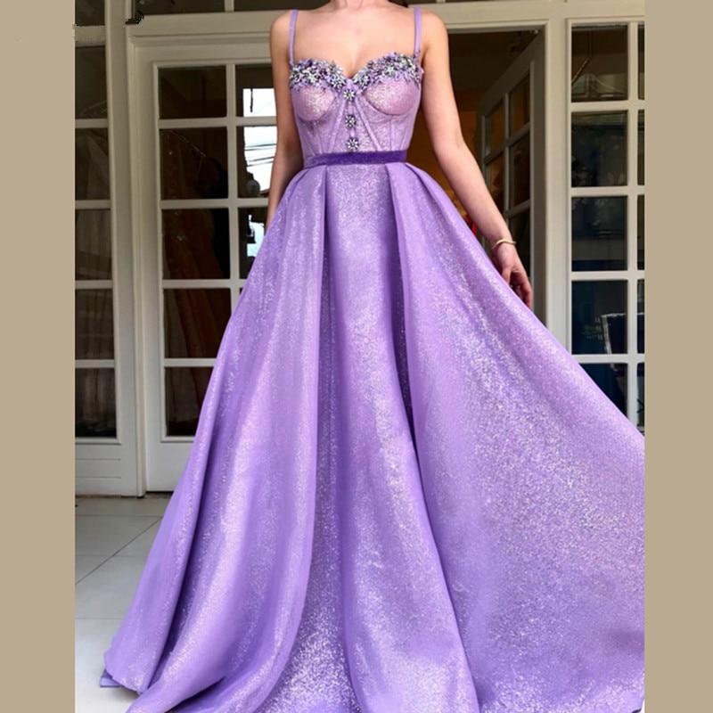 Lavender Muslim Evening Dresses 2018 A-line Sweetheart Sequins ...