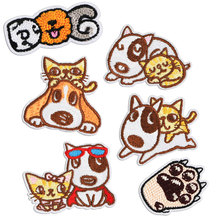 Embroidery Dog Patch on Clothes Stickers Iron Patches for Clothing Sew Cloth Badge Cat Cartoon Children DIY Bag Repair