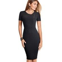 니스 영원히 빈티지 간략한 순수 컬러 착용 지퍼 vestidos 비즈니스 파티 Bodycon 사무실 칼집 여성 드레스 B502