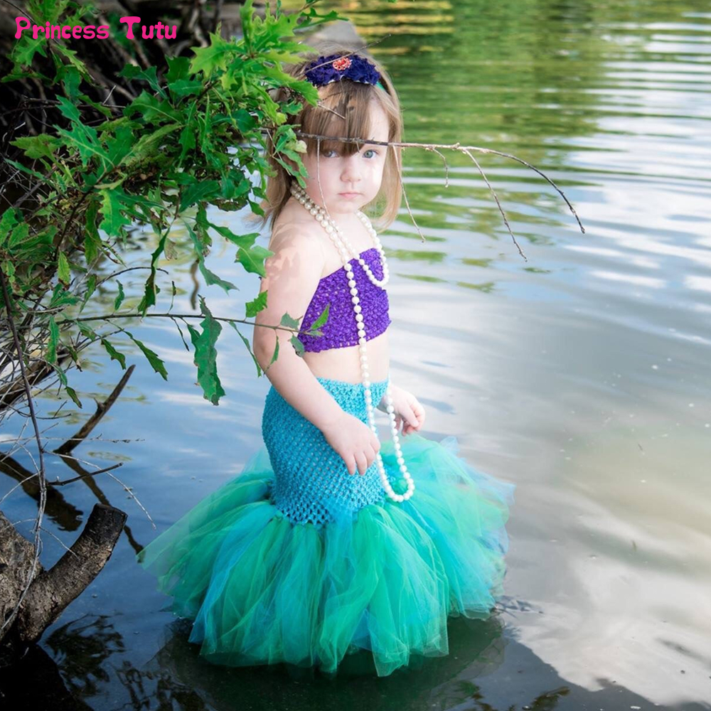 Beach Mermaid Tutu Set Birthday Party Baby Girl Ariel Princess Dress Kids Fishtail Tutu Dresses for Girls Halloween Costume 1-8Y halloween rhinestone cat black pettitop girl green zebra pettiskirt outfit 1 8y mamg1226