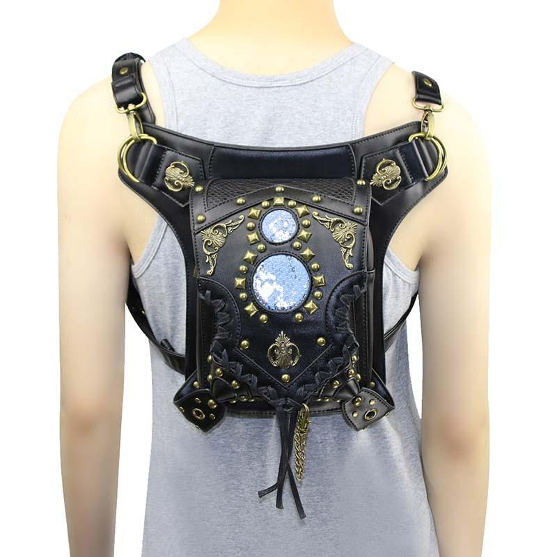 Punk Gothic Black PU Leather Rivet Unisex Steampunk Shoulder Bag Vintage Thigh Holster Waist Bags Corsets Outfits Accessories