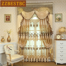 European and American luxury embroidered villa living room curtains with classic Voile Curtain for bedroom kitchen hotel cafe