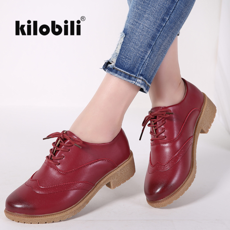 kilobili 2018 Spring Women Oxford Shoes Flats Shoes Women PU Leather lace up casual boat shoes Pointed toe Flats Moccasins Women