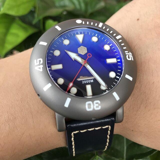 San Martin Männer Automatische Uhr Titan Fall Taucher Uhr 2000m Wasserdicht Leucht Lünette limited edition Mode Armbanduhr