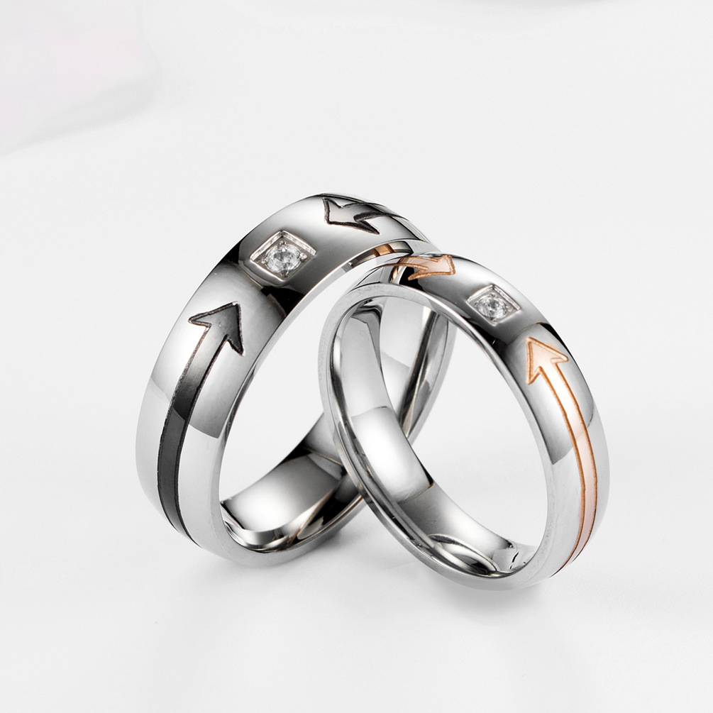 a356559d83 Stainless Steel Couple Wedding Band His and hers Anniversary Jewelry Couple  rings Cheap Engagement Ring Drop Shipping Wholesale-in Engagement Rings  from ...