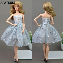 Doll Dresses Unique Gray Sequin Evening Dress for Barbie Dolls Clothes For 1/6 BJD Doll Gift Doll Accessories(China)