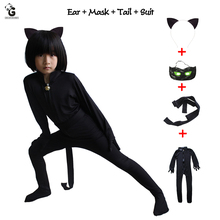 купить Cat Noir Halloween Christmas Costume Lady Bug Jumpsuit For Boys Adrien Marinette Cosplay Party Clothes Mask Superman Ladybug дешево